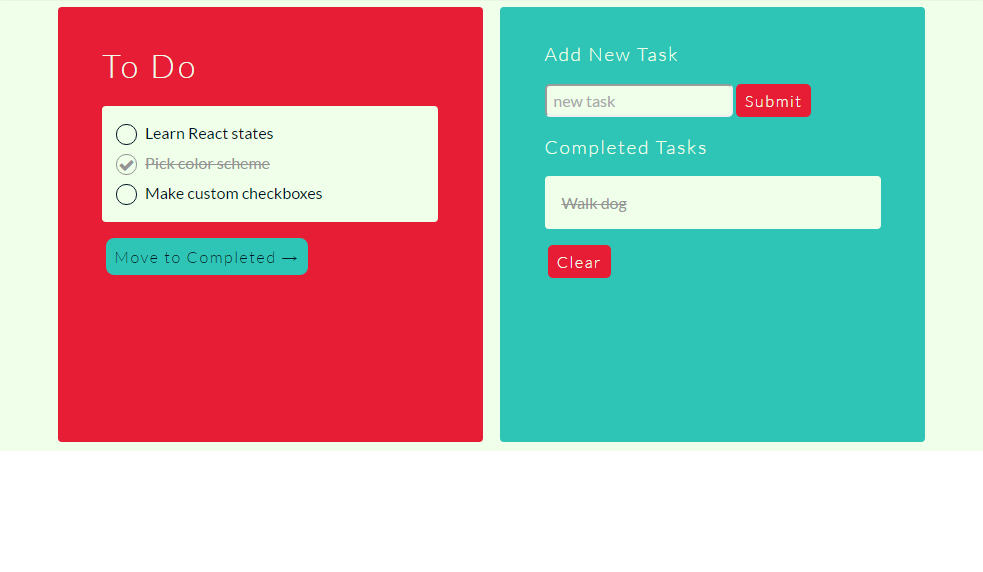 To Do Task App built with React